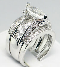 MARQUISE BRIDGE 3.55 CT. Cubic Zirconia Bridal Wedding 3 PC. Ring Set - SIZE 7