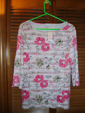 NWT CHARTER Club POPPY Floral SEQUIN Lng Slv TOP Lg $40