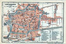 Antique map carte plan plattegrond Leeuwarden Netherlands Holland 1910