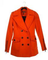 Orange Womens Peacoat Double Breasted Lined Flap Pockets Zippers XS BCBGMAXAZRIA