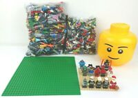 Lego 2KG Bundle 32 x 32 Baseplate Small Lego Head Container & 12 Minifigures