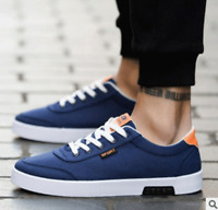 Men's Casual Loafers Lace Up Fashion Sneakers Low Top Flat Canvas Solid Shoes
