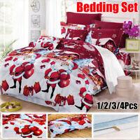 Christmas Printed Duvet Cover Bedding Set Pillowcase Bed Sheet Twin Queen King
