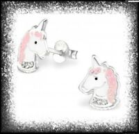 Girls Ladies 925 Sterling SILVER Pink Glitter UNICORN Stud Earrings - BOXED Pair