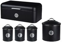 Black Tea Coffee Sugar Canister Set & Bread Bin & Biscuit Tin Airtight