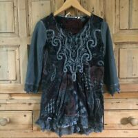 Women's AS IS Soft Surroundings Lace XS Grey 3/4 Sleeve