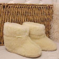 100% Sheep Wool Boots Cozy Foot Slippers Hard Sole Sheepskin Womens Mens Cream