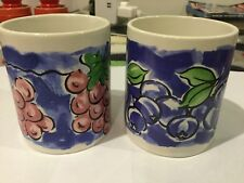 TWO HEAVY STONEWARE HANDPAINTED GRAPES BLUEBERRY FRUIT LARGE TEA COFFEE MUGS