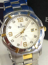 BULOVA 98D18  MARINE STAR DIAMOND ACCENT GOLD SILVER 2-TONE MENS WATCH  NEW $450