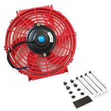 10″ Universal Slim Fan Push Pull Electric Radiator Cooling 12V+Mount Kit RED