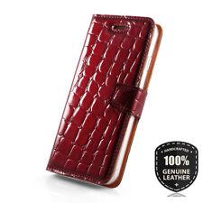 Surazo® Premium Echtes Ledertasche Schutzhülle Wallet Case Rot - Reptil motiv