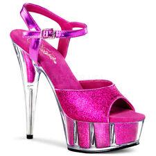 """6"""" Pink Glitter Clear Platform Heels Stripper Pole Dancer Shoes Delight 6 7 8 9"""