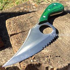 """7"""" FULL TANG GREEN WOOD SHARP CAT SKINNER HUNTING KNIFE Camping New! DH-7956 -SA"""