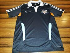 Adidas Houston Dynamo soccer polo shirt med. MLS Black White Stripe Embroidered