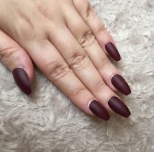 Hand Painted False Nails COFFIN Full Cover. Christmas. Matte. Deep Red Berry UK