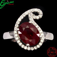 Sublime Oval Cut 9x7mm Top Blood Red Ruby White Cz 925 Sterling Silver Ring Sz 6