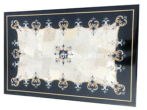 3'x2' Marble Black Dining Table Top Precious Inlay Stone Occasional Decors B045