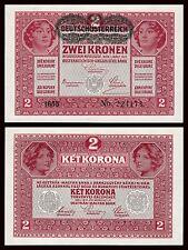 Austria  2 Kronen 1-3-1917 (1919) Pick 50  SC = UNC