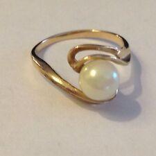 "VERY NICE Vintage 14K Akoya 5 mm Pearl Ring ~ ""S"" Maker's Mark & Hallmark"
