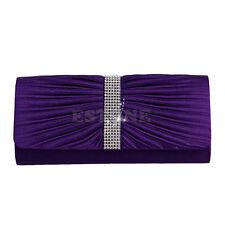 Elegant Satin Diamante Pleated Evening Clutch Bag Bridal Handbag Prom Purse