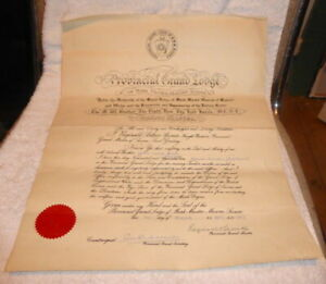 Vintage Masonic certificate, Mark Prov Grand Lodge of Sussex dated 1957