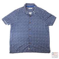 Tommy Bahama Mens XL Short Sleeve Button Up Silk Floral Print Shirt Blue