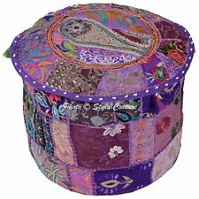 """Vintage Embroidery Foot Ottoman Indian Embroidery Purple Pouf Cover 16"""""""