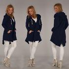 Mujer Cremallera Suéter Con Capucha Largo Encapuchado Chaqueta de chándal abrigo