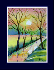 Landscape Water Reflections Sunset Trees  ACEO ORIGINAL  Watercolor Painting