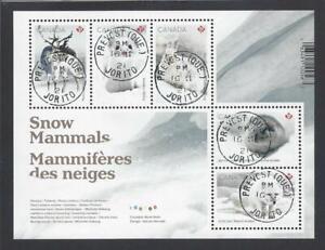 2021 Snow Mammals Souvenir Sheet First Day Cancel