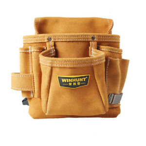 Leather Electrical tool Carpenter Nail Pouch WaistBag Nail Holder with waistband