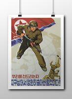 "North KOREA Anti-American Propaganda Poster Print Girl With AKM 18x24/"" #NK016"