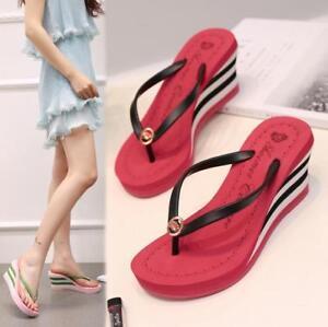 Women Bohemia Wedge High Heels Platform Slippers Clip Toe Flip Flops Beach Shoes