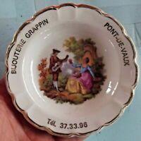 Ancien vide poche porcelaine de limoges décor FRAGONARD publicitaire vintage