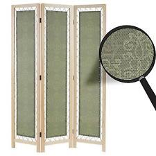 Paravent Samsun, cloison de séparation, tissu, vert, 170x120cm