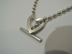 Gucci Heart Toggle Boule Necklace Sterling Silver - Good Condition