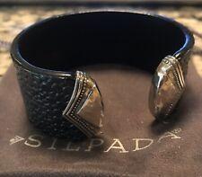 SILPADA B3222 Genuine Leather Sterling Silver Sting Ray Cuff Bracelet NIB!