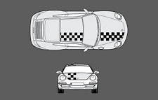 Porsche 911 (997) Bonnet & roof Chequer Chequered Stripe Graphic Decal Set