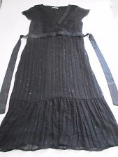 M&S PRETTY JET BLACK V NECK CALF LENGTH CHIFFON DRESS UK 12 TINY SPARKLY SEQUINS