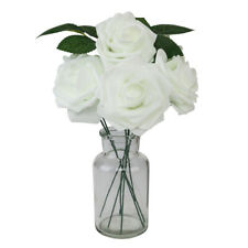 Artificial Flowers Blush Rose 25pcs Realistic Fake Roses w/Stem Wedding White