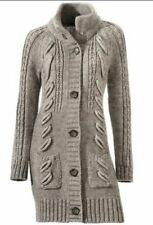 °° Tesini strickmantel Taupe Long Cardigan Taille UK 20