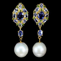 Unheated Oval Tanzanite 8x6mm Chrome Diopside Pearl 925 Sterling Silver Earrings