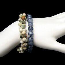 Vintage Jewelry Bracelets Lot 2 Chunky Beads Agate Stones Blue Multi Color