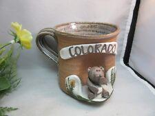 Studio pottery Colorado souvenir mug. Bear, honey pot