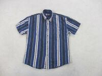 VINTAGE Ralph Lauren Chaps Shirt Adult Large Blue White Button Up Men 90s B1