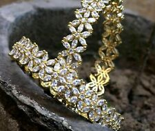 Indian Gold Plated American Diamond Bangle Set Bracelet Women Party Wear Jewelry