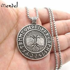 MENDEL Norse Viking Rune Celtic Protection Tree of Life Pendant Necklace Chain