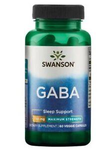 Premium GABA 750mg 60 Caps Swanson Sleep Support Ease Nervous Tension