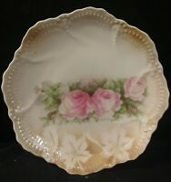 "Vintage Leuchtenburg Germany Marked 6"" Plate Pink Roses Stencil Leaves"