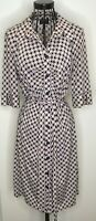 Ladies Laundry by Shelli Segal Pattern black beige shirt button dress Size 10